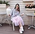 Кофта свитшот женская серая с цветами, фото 2