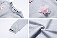 Кофта свитшот женская серая с цветами, фото 3