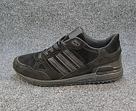 Кроссовки мужские  Adidas ZX 750 замшевые черные (р.45,46)