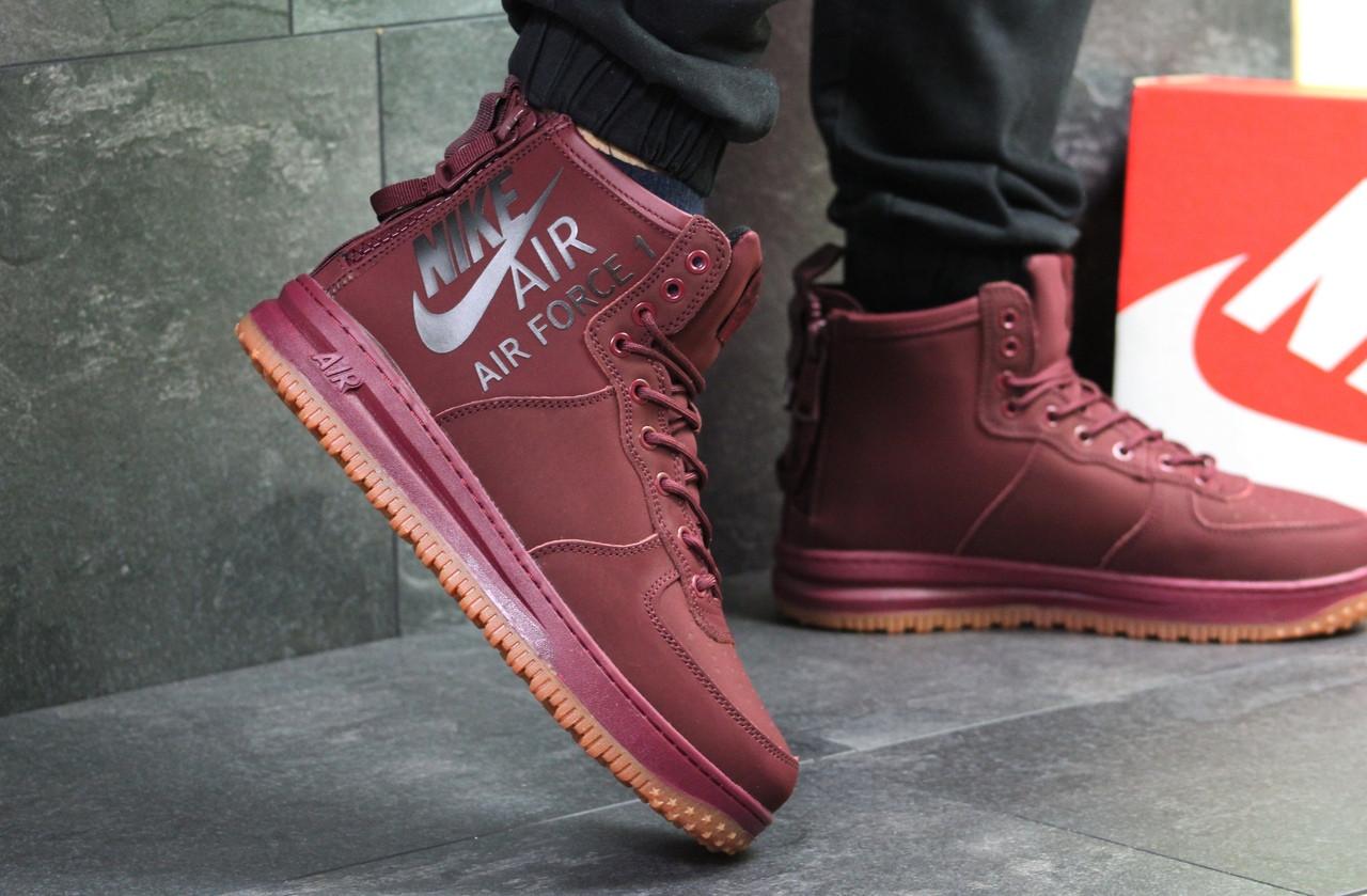 ccf855d2cc56af Бордовые мужские кроссовки Nike Air Force 1 найк аир форс с мехом / чоловічі  кросівки (