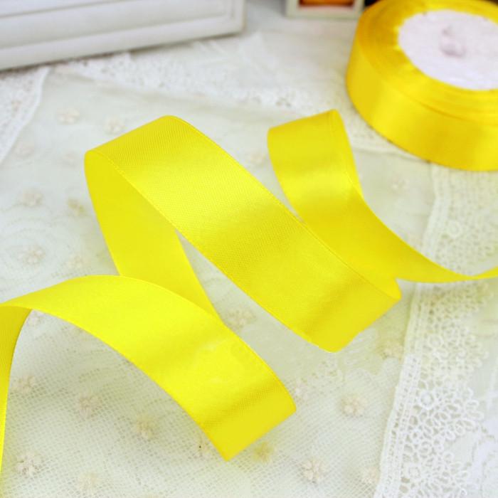 Лента атласная ярко-желтая 6 мм