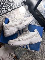 Мужские кроссовки Adidas Yung Falcon Grey White . Живое фото. (Топ реплика ААА+)