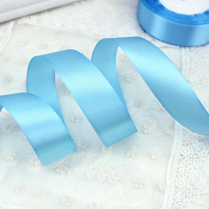 Лента атласная голубая 25 мм