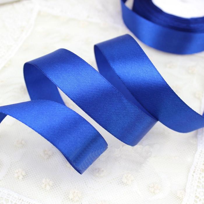 Лента атласная синяя 25 мм