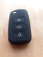 Чехол (черный, силиконовый) для авто ключа VOLKSWAGEN (Фольксваген) 3 кнопки