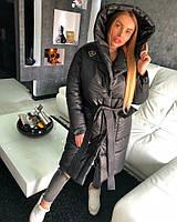 Пуховик пальто зимний дутый с капюшоном удлиненный