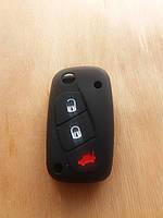 Чехол (черный, силиконовый) для авто ключа Citroen (Ситроен) 3 кнопки