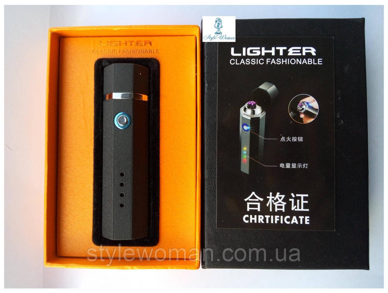 Электро-импульсная USB зажигалка HL-28 с двумя перекрестными молниями черная