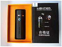 Электро-импульсная USB зажигалка HL-28 с двумя перекрестными молниями черная, фото 1