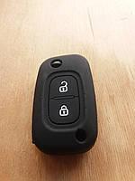 Чехол (черный, силиконовый) для выкидного ключа RENAULT (Рено) 2 кнопки
