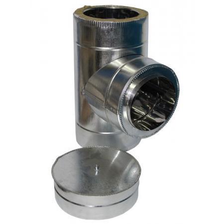 Тройник дымоходный 90° х 160 мм х 220 мм утепленный нерж/цинк (0.8мм/0.5мм) сэндвич