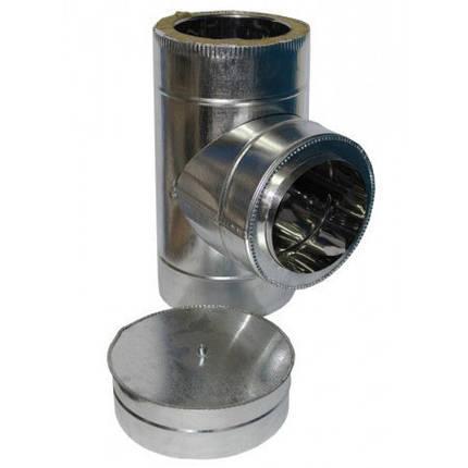 Тройник дымоходный 90° х 160 мм х 220 мм утепленный нерж/цинк (0.8мм/0.5мм) сэндвич, фото 2