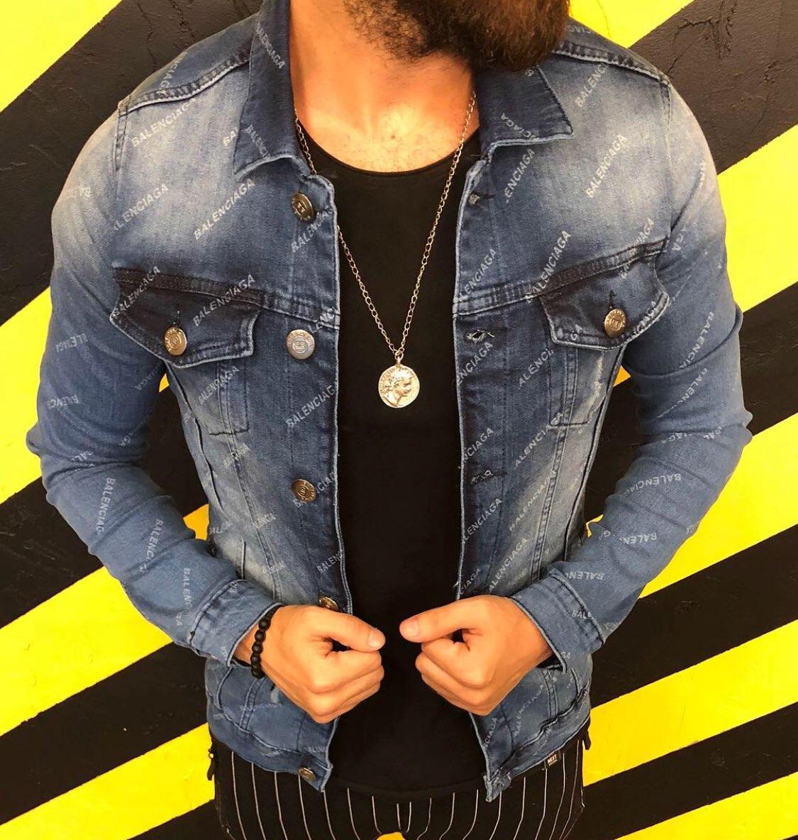 Куртка джинсовая Balenciaga D4321 темно-синяя