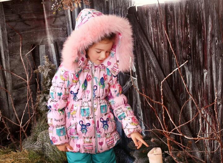 Курточка с натуральным мехом зимняя для девочки тм Моне р-ры 116,122