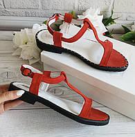 Красные замшевые босоножки от производителя, фото 1