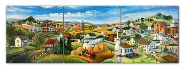 """Картина на стекле """"Деревня на холмах"""""""