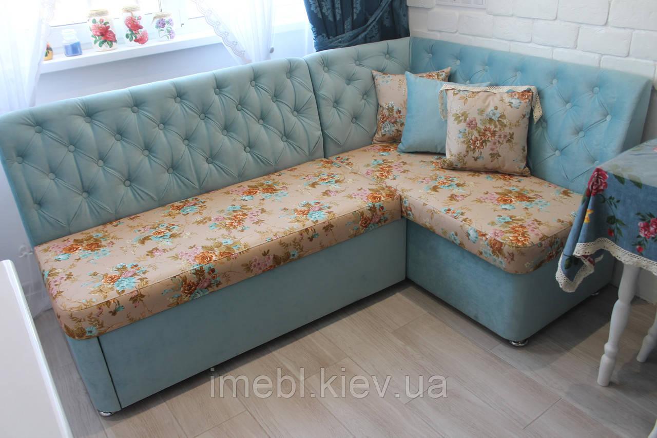 Угловой диван со спальным местом на кухню (Бирюзовый)