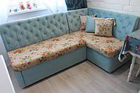 Угловой диван со спальным местом на кухню (Бирюзовый), фото 1