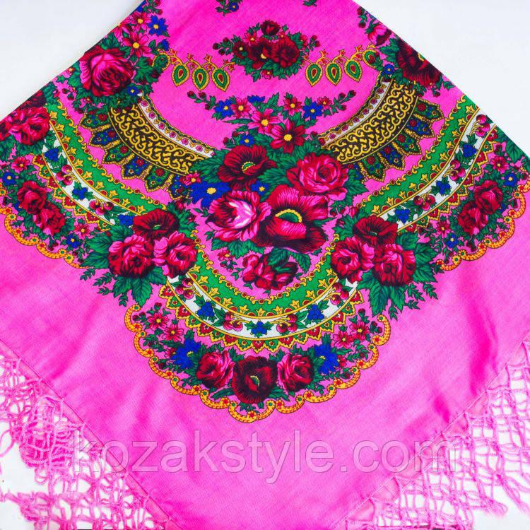 Українська хустка рожева (120х120)