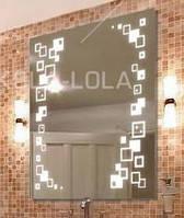 Зеркало с LED подсветкой 1000*700  с рисунком D91 с включателем кнопка