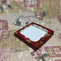 Коробка для пряников / 200х200х30 мм / печать-Снег.Красн / окно-обычн / НГ, фото 1