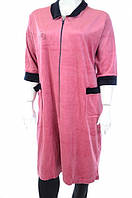 Халат женский розовый с воротничком