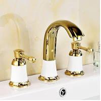 Смеситель двухвентильный золото для умывальника ванной комнаты 0512, фото 1
