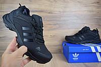 Мужские зимние ботинки Adidas Climaproof низкие черные (ТОП реплика), фото 1