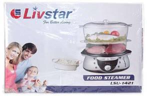 Пароварка livstar lsu-1421, 2 ёмкости + чаша для варки риса, резервуар для воды на 1,3 л, мощность 700 вт