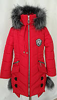 Детские зимние пальто для девочек подростков   34-44 красный, фото 1