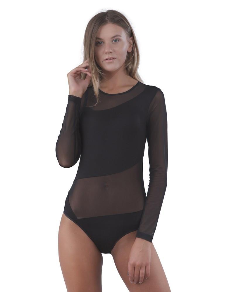 Женское боди черного цвета из вискозы с вставками из сеточки