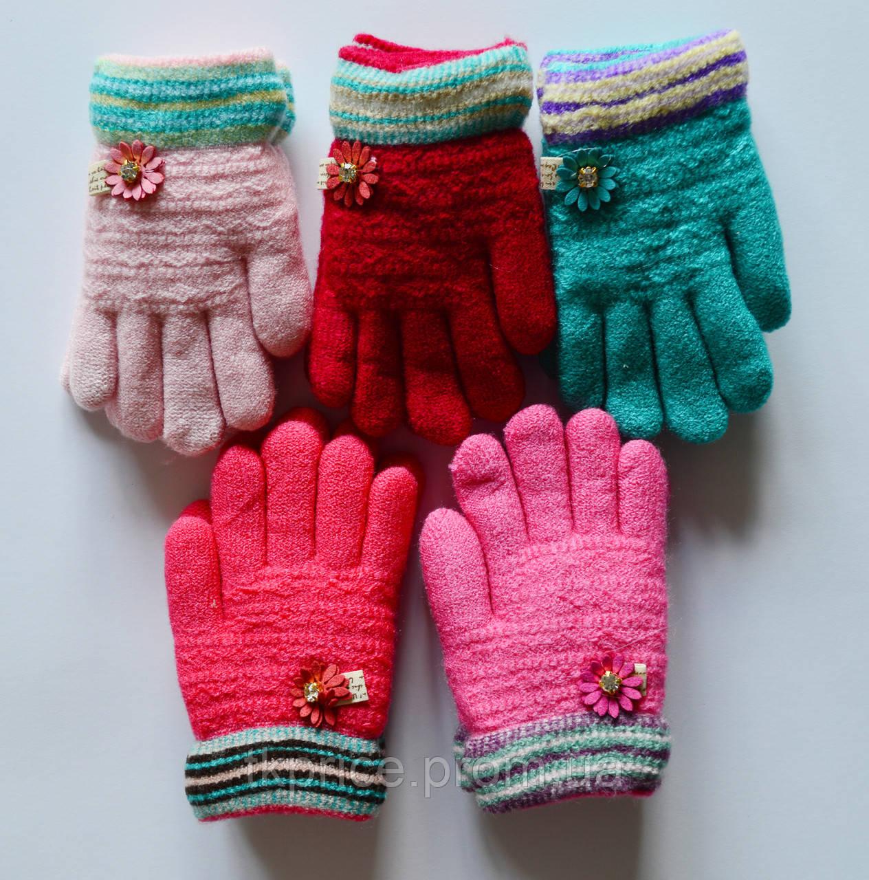 Детские шерстяные перчатки для девочки на меховой подкладке - длина 13 см