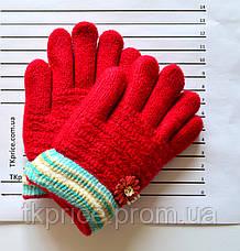 Детские шерстяные перчатки для девочки на меховой подкладке - длина 13 см, фото 3