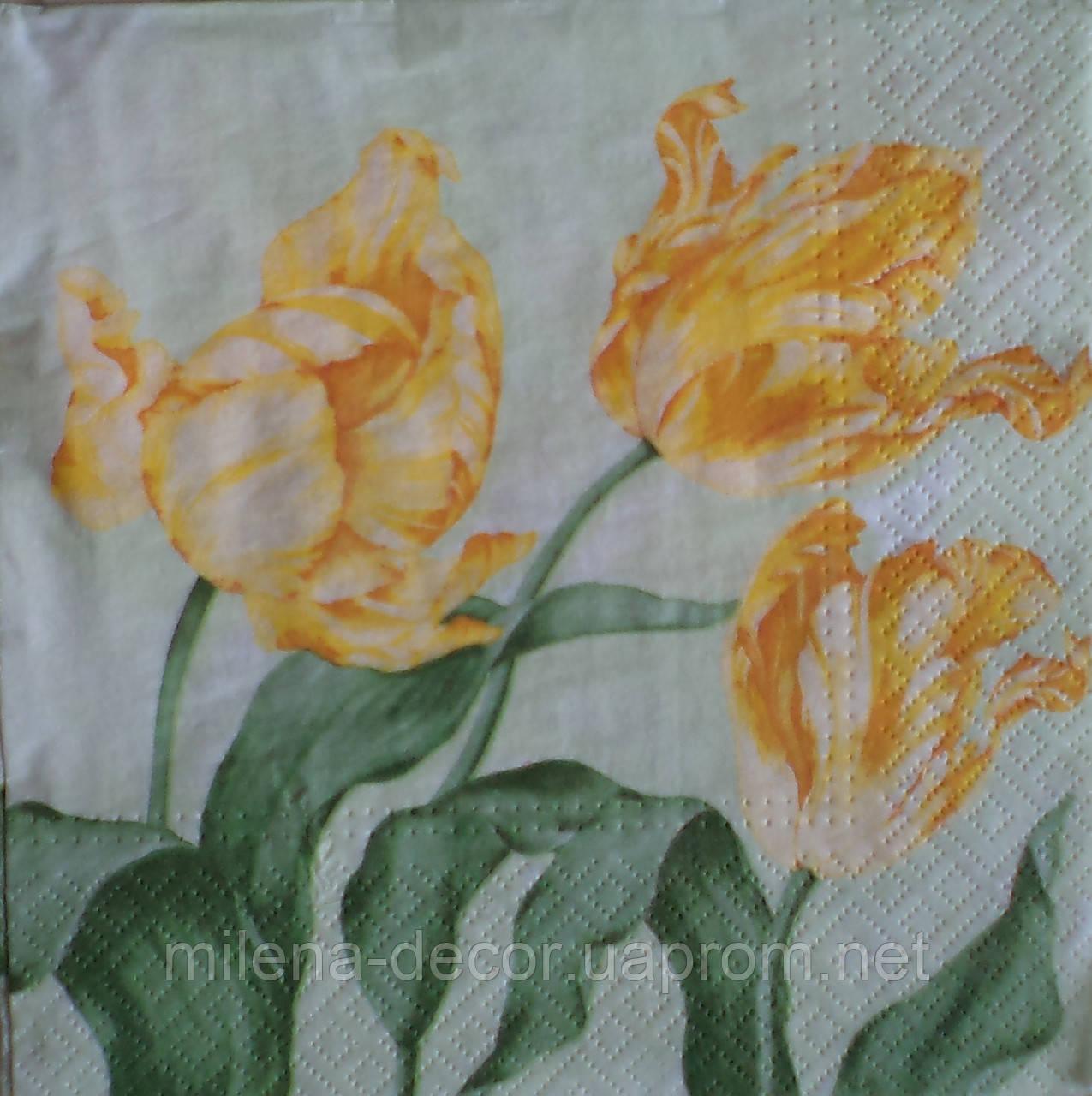 Салфетка для декупажа с тюльпанами (33*33 см.)