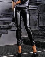 Женские черные леггинсы с экокожей спереди (2363 svt)