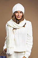 Женский стильный комплект шапка+шарф крупной вязки