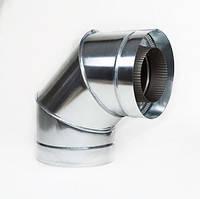 Отвод дымоходный 90° х 120 мм х 180 мм утепленный нерж/цинк (0.8мм/0.5мм) сэндвич колено