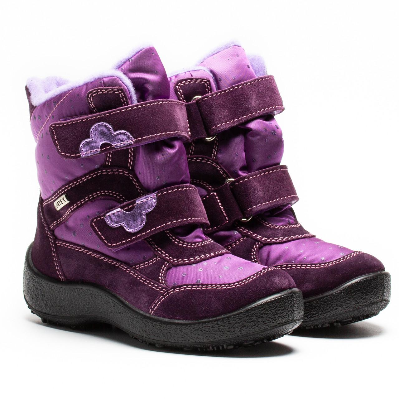 Мембранные зимние ботинки Kapika, для девочки, сиреневые на липучках,  размер 29-34