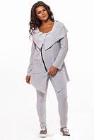 Спортивный костюм большого размера с кардиганом серый 823506