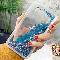 Чехол Glitter для Samsung Galaxy J3 2016 / J300 / J320 Бампер жидкий блеск Blue