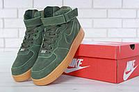 Мужские зимние кроссовки с мехом Nike Air Force 1 High Green Winter, фото 1