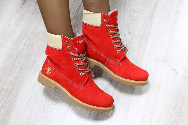 Зимние женские натуральные ботинки в стиле Timberland,цвет красный или бордо 831ec25d1b8