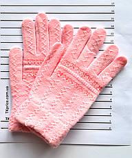 Детские шерстяные перчатки для девочки двойные - длина 16 см, фото 3