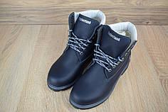 Женские ботинки Timberland на меху темно-синие топ реплика