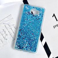 Чехол Glitter для Samsung Galaxy C9 Pro / C9000 Бампер Жидкий блеск Blue