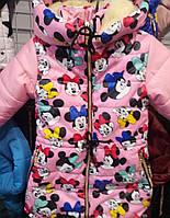 Детская зимняя куртка  Микки на овчине оптом на 5-9 лет розовая