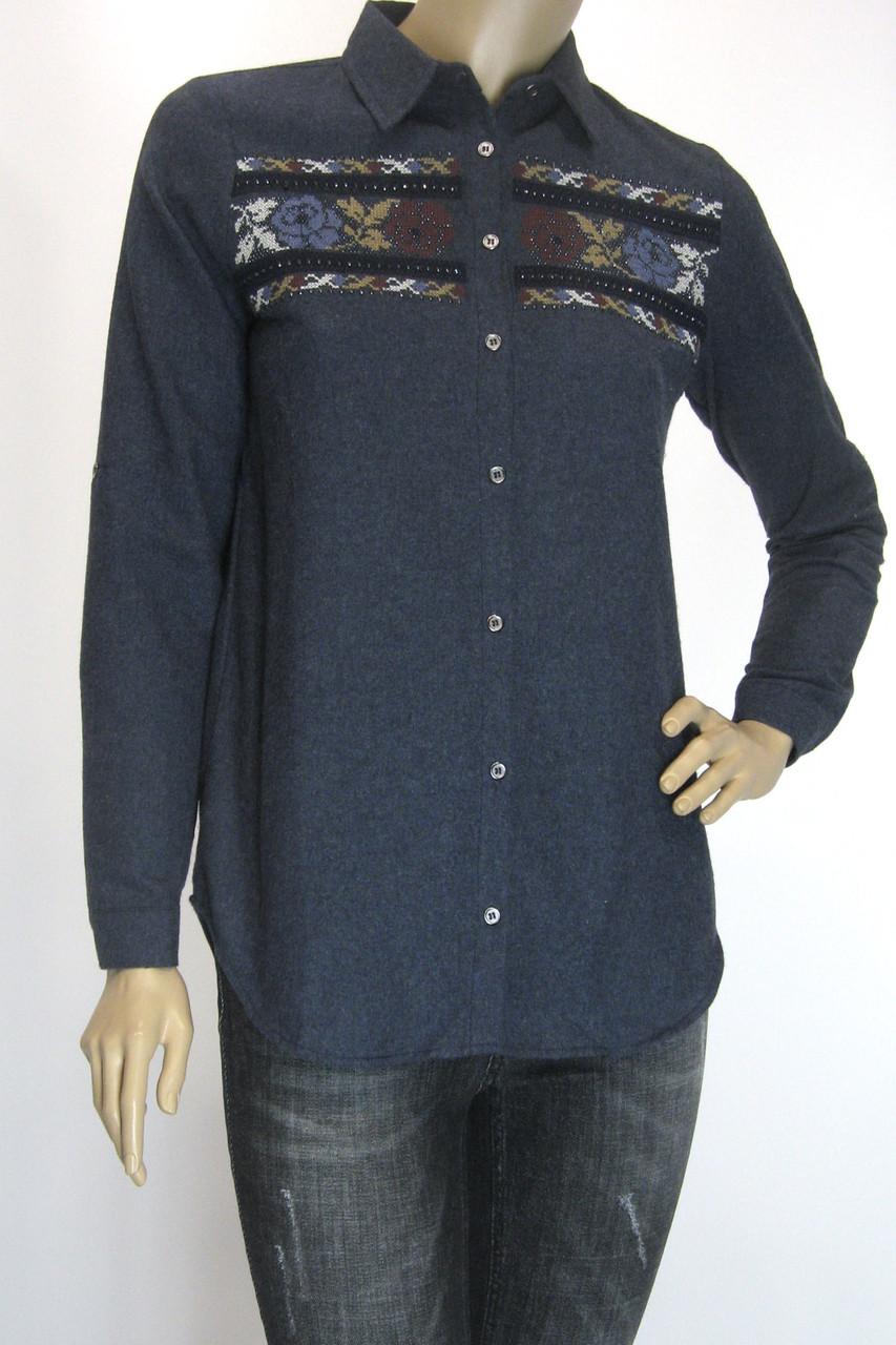 Женская рубашка фланель с вышивкой