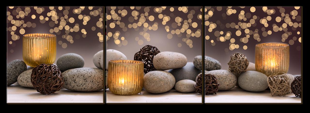 """Картина на стекле """" Камни и свечи"""""""
