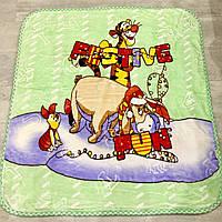 Красивое, яркое, теплое детское одеяло-плед с веселыми героями мультфильмов, зеленого цвета
