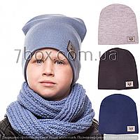 Детская шапка двойная вязка  для мальчиков 48-51рр Украина м.448